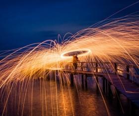 beautiful sparkling fireworks at dusk Stock Photo