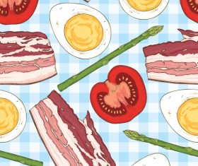 breakfast blue seamless pattern vector