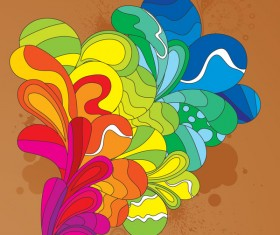 brown background with abstract colored elements vector