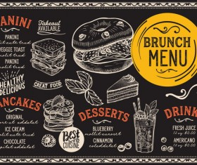 brunch food menu vector