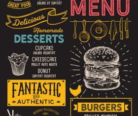burger food menu design vector