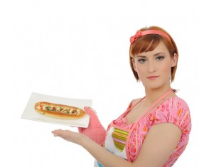 carrying food woman Stock Photo 01