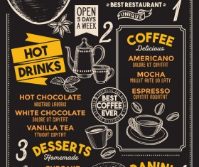 coffee drink menu design vector 01