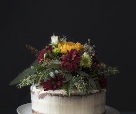 cream cake decoration with fresh flora Stock Photo