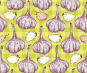 garlic seamless pattern vector 02