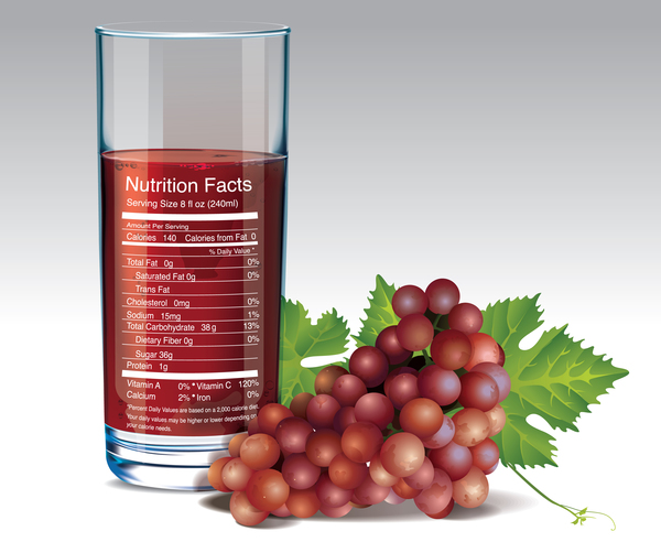 grape juice nutrition vector