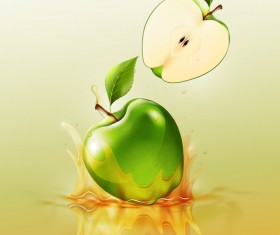 green apple splash yellow background vector
