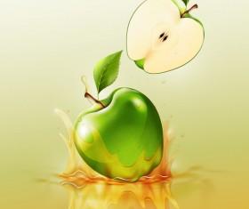 green apple splash yellow background vector