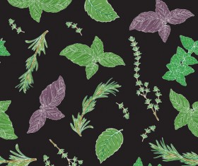 herbs black seamless vector