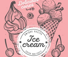 ice cream dessert sweet menu vector