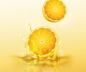 lemon splash yellow background vector