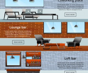 loft interior elements gradient flat banners vector