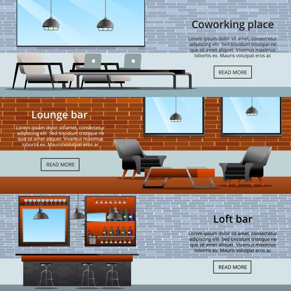 loft interior elements gradient flat banners vector