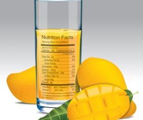 mango juice nutrition vector