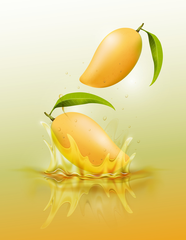mango splash yellow background vector