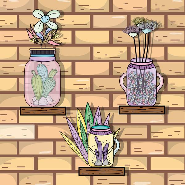 mason jar with flower vector