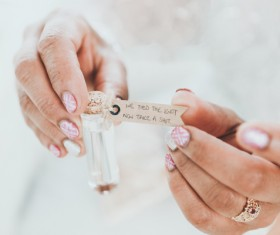 message in woman hands Stock Photo