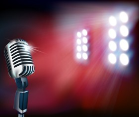 microphone with sportlight background vector