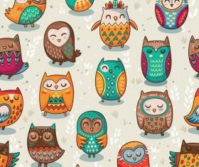 owl vintage pattern vector