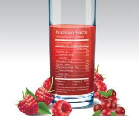 raspberries juice vector