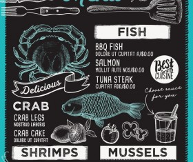 seafood menu vector template