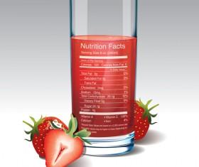 strawberries juice vector