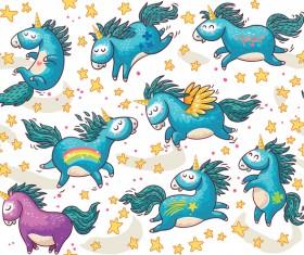 unicorn animal cartoon vectors seamless pattern