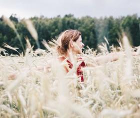 woman joyful in rice field Stock Photo