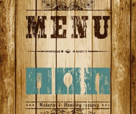 wood board with menu cover vector