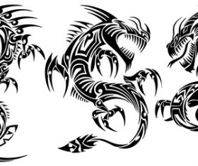 3 Kind Tattoo dragon vector