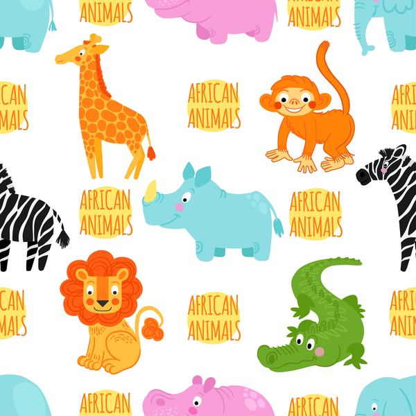 African animal seamless pattern vector 01