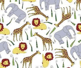 African animal seamless pattern vector 02