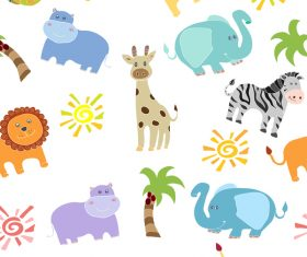African animal seamless pattern vector 03