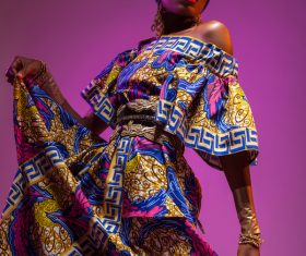 African woman wearing national dress fashion posing Stock Photo 04