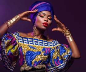 African woman wearing national dress fashion posing Stock Photo 06