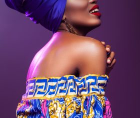 African woman wearing national dress fashion posing Stock Photo 07