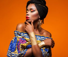 African woman wearing national dress fashion posing Stock Photo 10