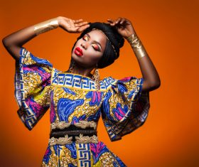 African woman wearing national dress fashion posing Stock Photo 12
