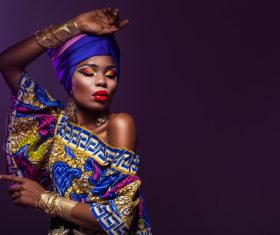 African woman wearing national dress fashion posing Stock Photo 14