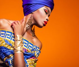 African woman wearing national dress fashion posing Stock Photo 15