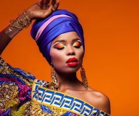 African woman wearing national dress fashion posing Stock Photo 16