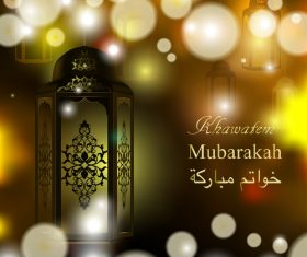 Arabic lamp with mubarak background design vector