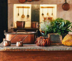 Asian traditional kitchen decor Stock Photo