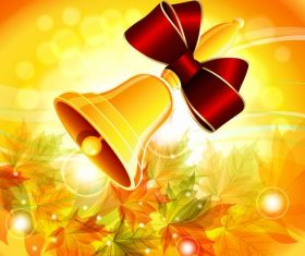 Autumn background with golden bell vector