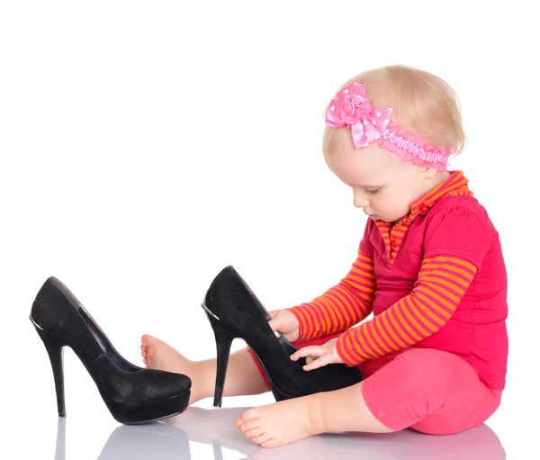 Baby playing with high heels Stock Photo 01
