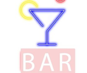 Bar neon logo design vector