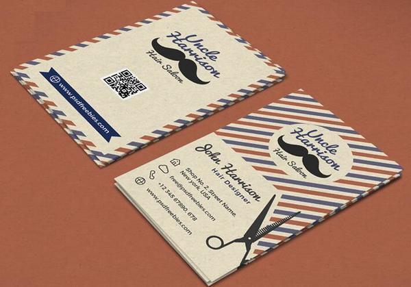 Barber Shop Poster with Business Card PSD Template