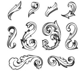 Baroque ornaments design vector