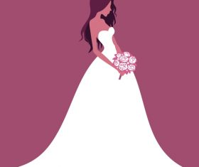 Beautiful bride wedding design vector 01