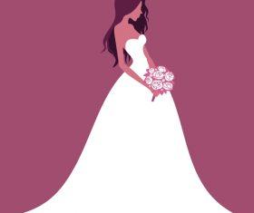 Beautiful bride wedding design vector 01